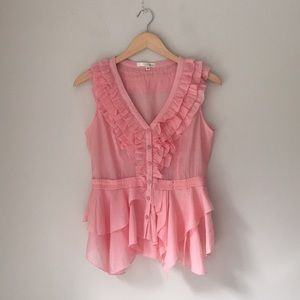 Aniina Pink Ruffled Button Front Blouse